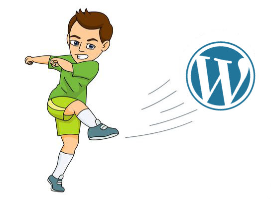 Kicking a football with the WordPress logo on it.