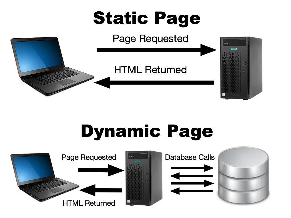 Diagram showing the difference between static and dynamic web pages, and how they get their information.